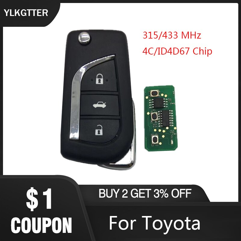 Ylkgtter 3 botão flip chave remota inteligente para toyota aygo corolla yaris camry verso com 315/433 mhz 4d67 id67 transponder chip