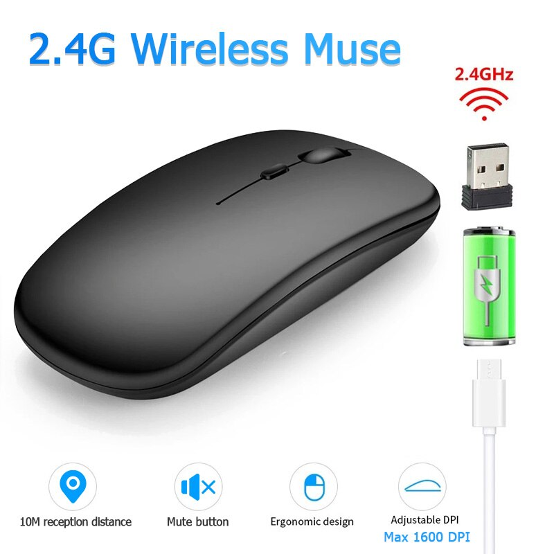 Wireless Mouse 2.4Ghz USB Bluetooth Mouse Wireless Computer Silent Mause Ergonomic Portable Gaming Mouse For Laptop