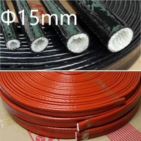 thickening fire proof tube id 15mm silicone fiberglass cable sleeve high temperature oil resistant insulated wire protect pipe