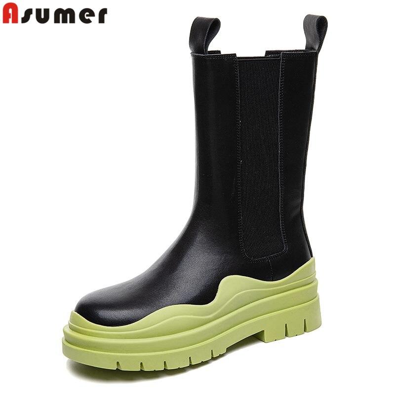 Asumer الفاخرة العلامة التجارية جلد طبيعي تشيلسي أحذية النساء تمتد الانزلاق على حذاء من الجلد موضة مكتنزة منصة بوتاس السيدات الأحذية