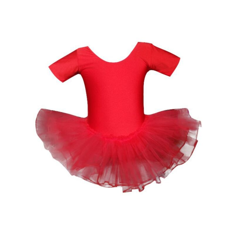 Vestido de Ballet de baile para niñas, de manga corta, de malla, para practicar tutú, ropa de espectáculo, vestido de baile de cisne pequeño