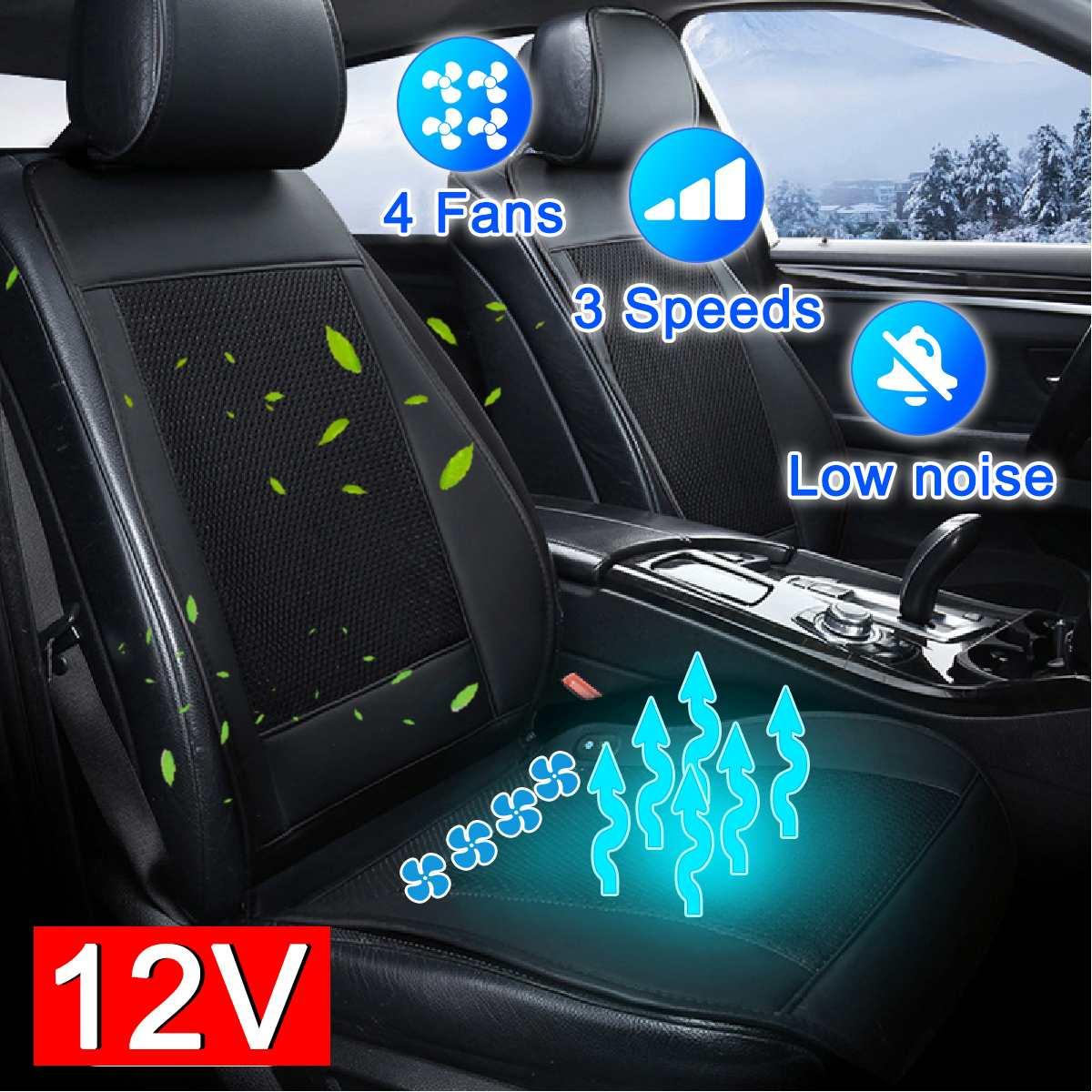 De 12V funda de cojín de asiento de coche de aire de ventilación ventilador acondicionado refrigerador Pad 4 construido en VENTILADOR DE 3 velocidades fundas para cojines de asiento