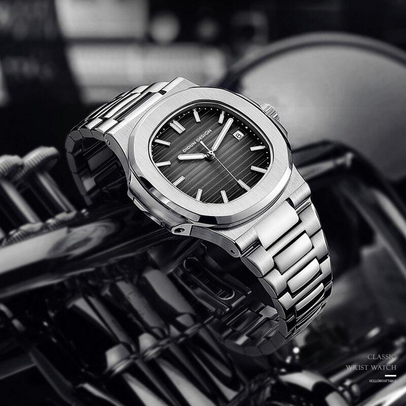 أفضل ماركة فاخرة DIDUN 2021Men التلقائي الميكانيكية الساعات الرياضية الذكور العسكرية الصلب مضيئة اليد نوتيلوس ساعة اليد