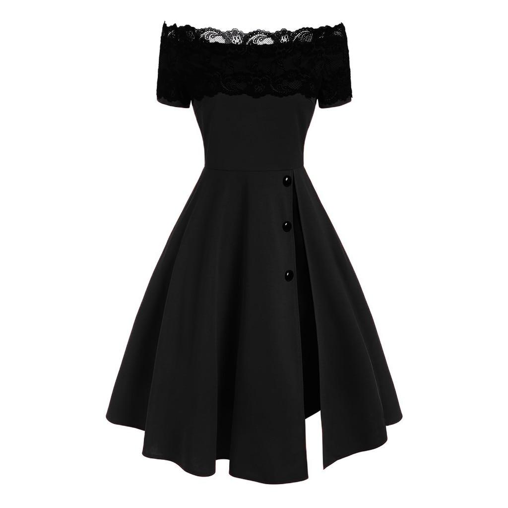 Ropa De mujer moda Vestidos De Fiestas De Noche Largos Elegantes manga corta sin tirantes encaje empalme botón vestido plisado
