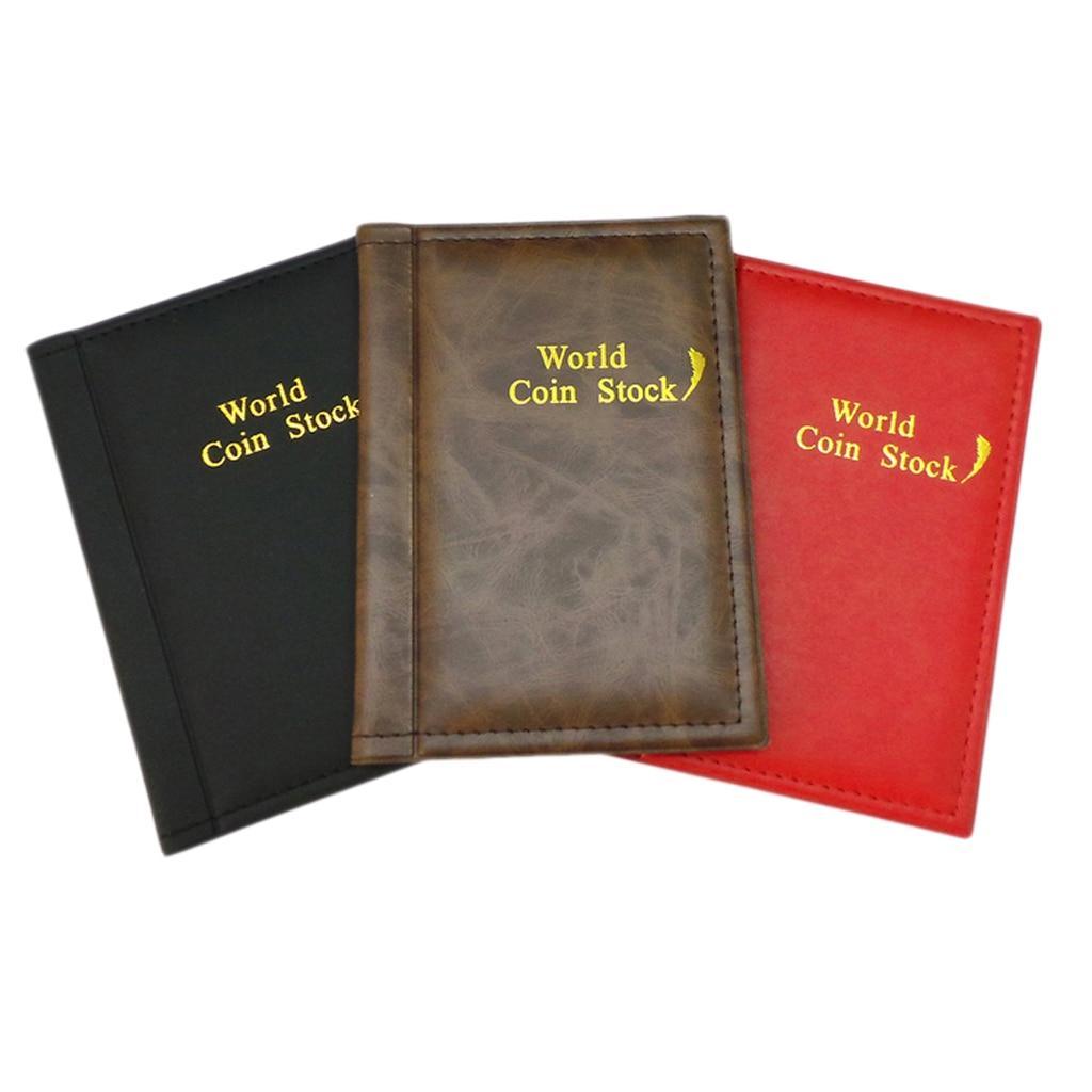 Álbum de colección de monedas-120 bolsillos para monedero-Libro de cuero Vintage para mostrar y organizar para coleccionistas