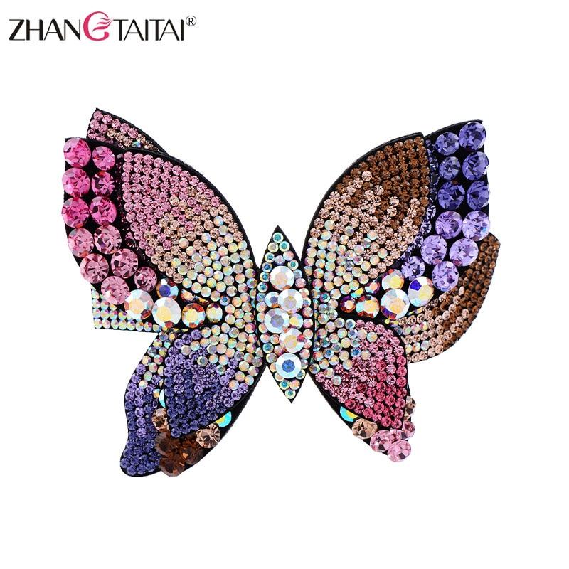 Clip de pelo de mariposa de diamantes de imitación austriaco de gran tamaño para Mujer Accesorios para el cabello de boda pinza para el pelo femme con regalo