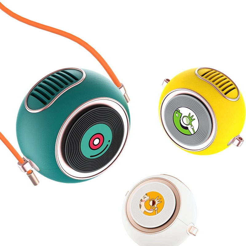Cute Round Hanging Neck Fan USB Charging Small Air Cooler Portable Mini Lanyard Handheld USB Cartoon Fan gxz f852 vessel handheld portable usb mini hanging neck electric fan charging student office small fan