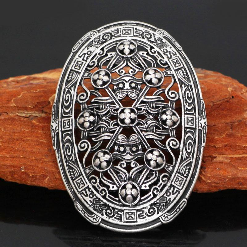 Классическая Брошь-щит для мужчин, серебряная брошь в стиле викингов в стиле ретро, Ювелирное Украшение для вечеринки в стиле панк-рок