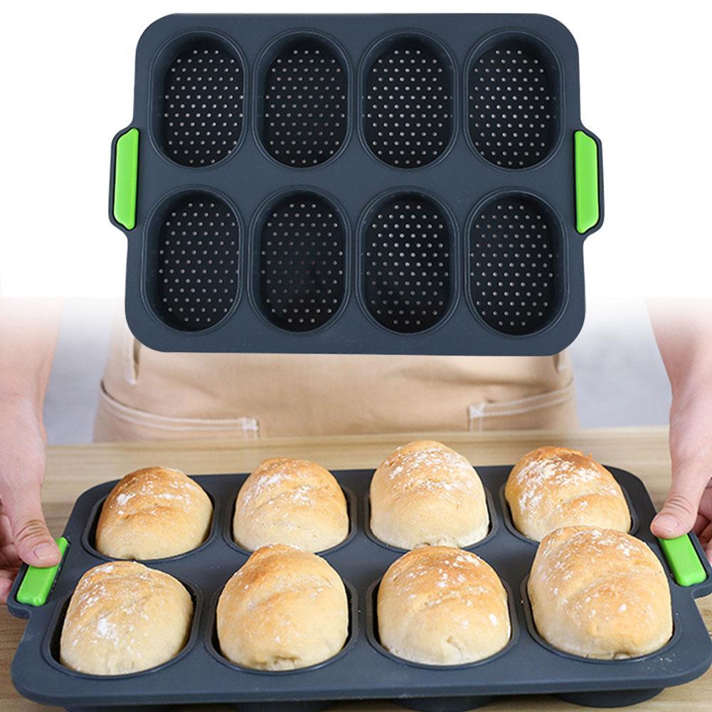 8 Hole Non-stick Bread Mold Silicone Mold Cupcake Pan Muffin Tray Cupcake Mold Muffin Pan DIY Hamburger Bread Pan Baking Pan
