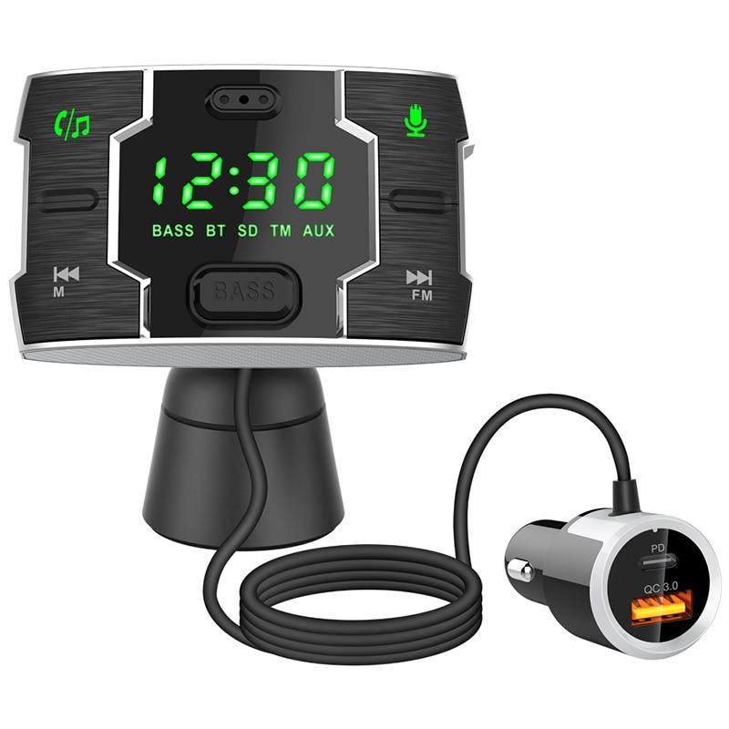 Bluetooth 5.0 автомобильный mp3-плеер, FM-передатчик, беспроводной автомобильный комплект громкой связи, автомобильное зарядное устройство с двумя ...