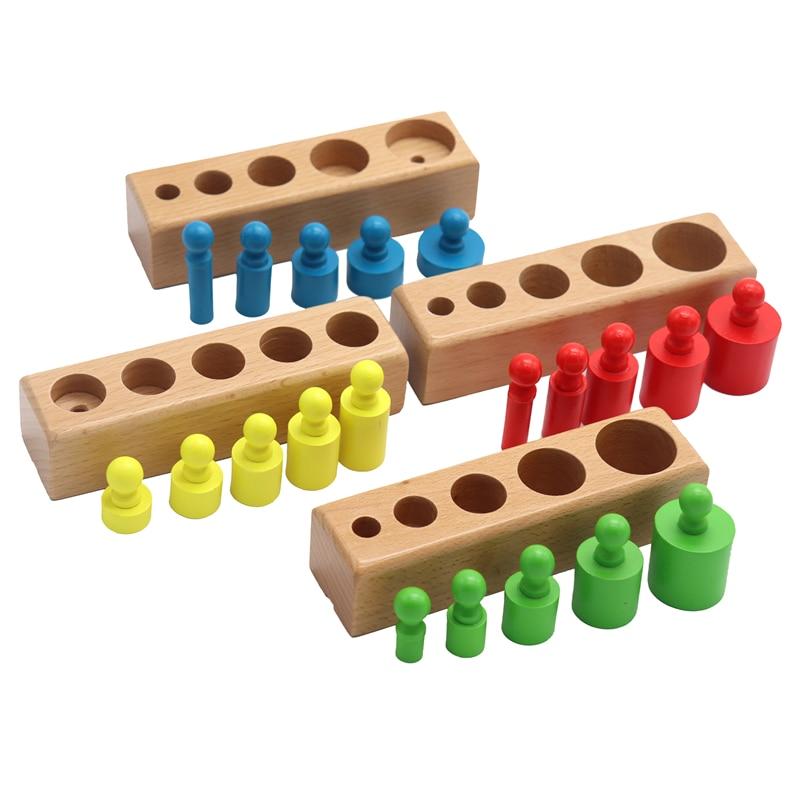Montessori Cylinder Socket Puzzles Toy Baby Development Practice And SensesPreschool Educational Wooden Toys For Children