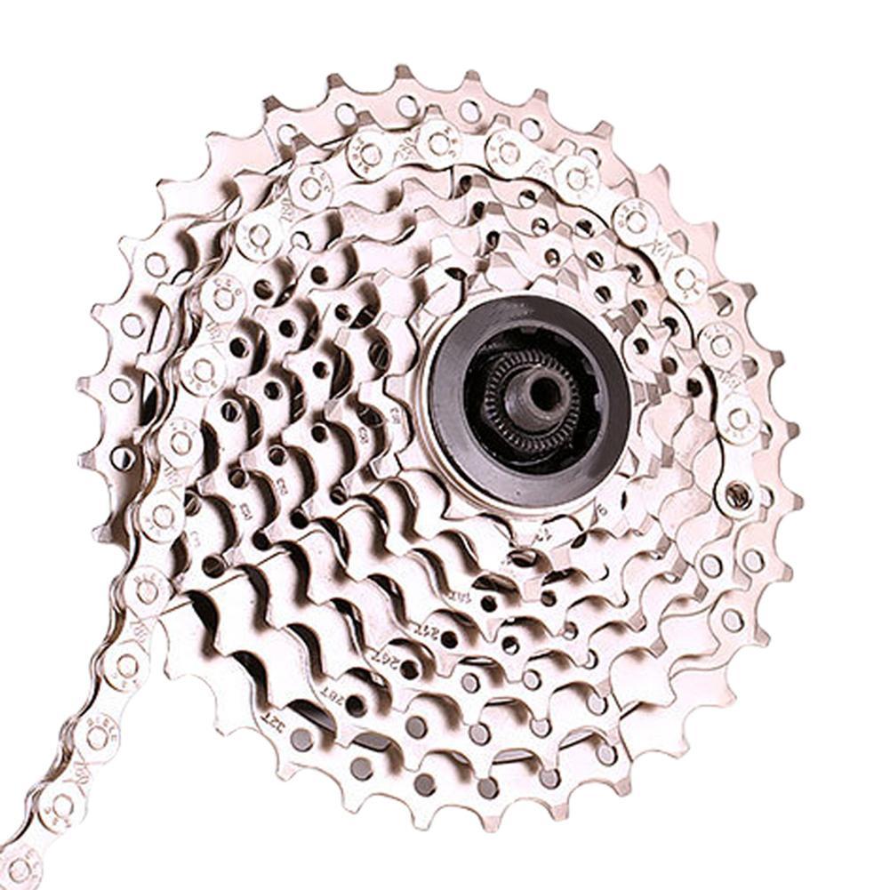 Цепь для велосипеда из углеродистой стали, 8/9/10/11 скоростная велосипедная цепь с серебряным покрытием, 116 деталей, MTB цепь для дорожного велос...