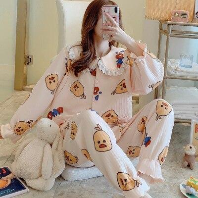 Ropa de nuevo mes Otoño e Invierno capa de aire lactancia de gran tamaño gruesa ropa de alimentación caliente pijamas embarazadas servicio doméstico