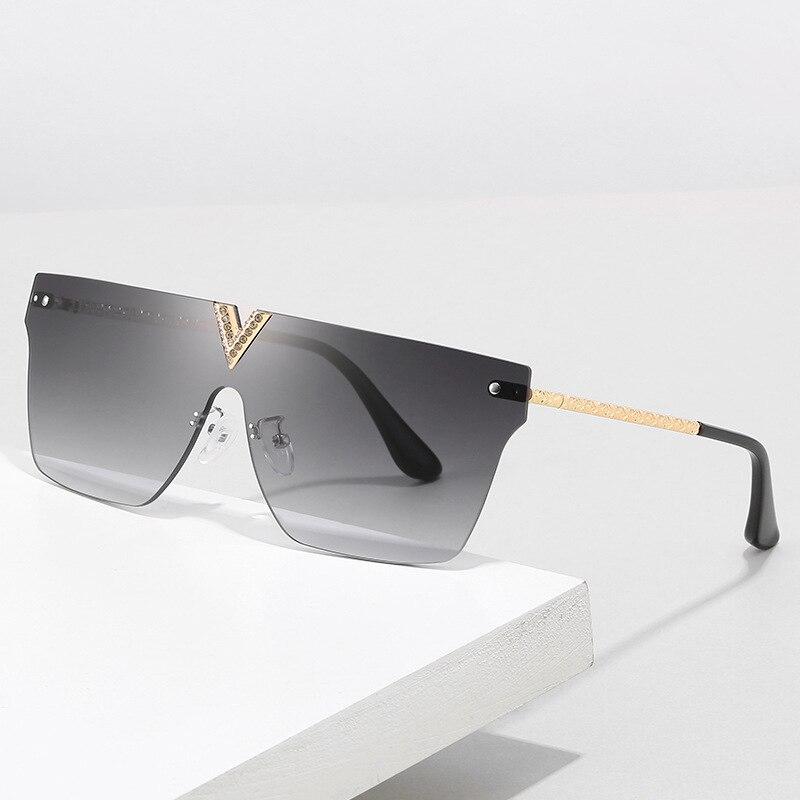 Gafas de sol cuadradas sin montura de una pieza para mujer, gafas de sol planas de gran tamaño con pedrería, gafas de sol Vintage con degradado para hombres, gafas calientes