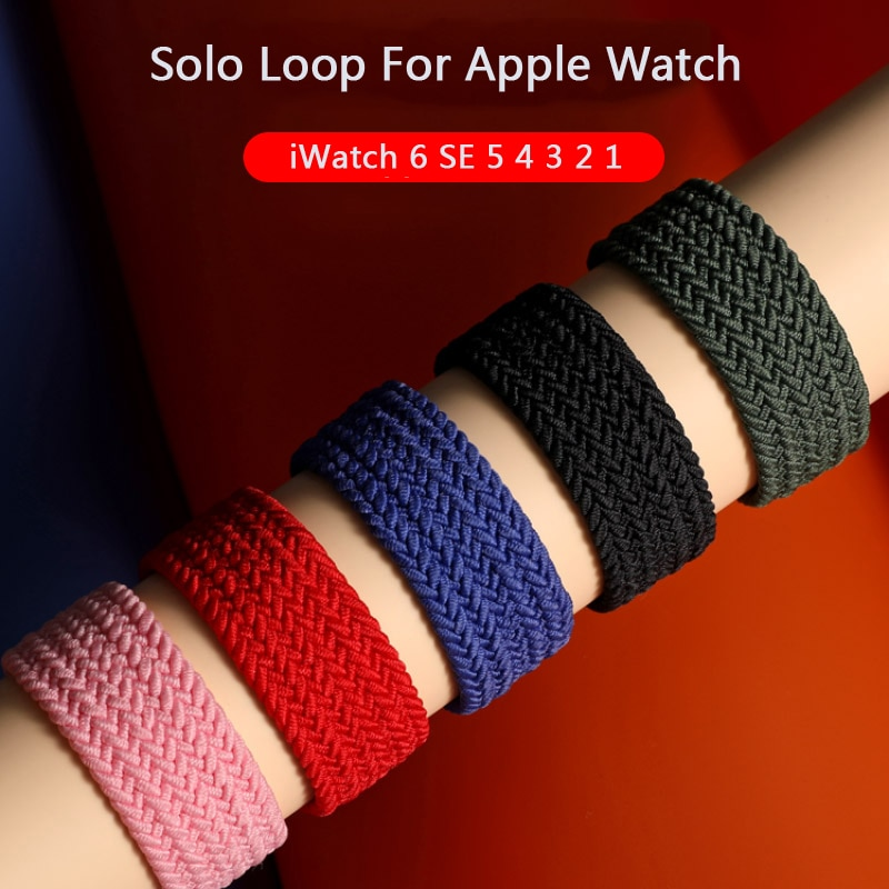 Braided Solo Loop Nylon fabric Strap For Apple Watch band 44mm 40mm 38mm 42mm Elastic Bracelet for iWatch Series 6 SE 5 4 3 belt