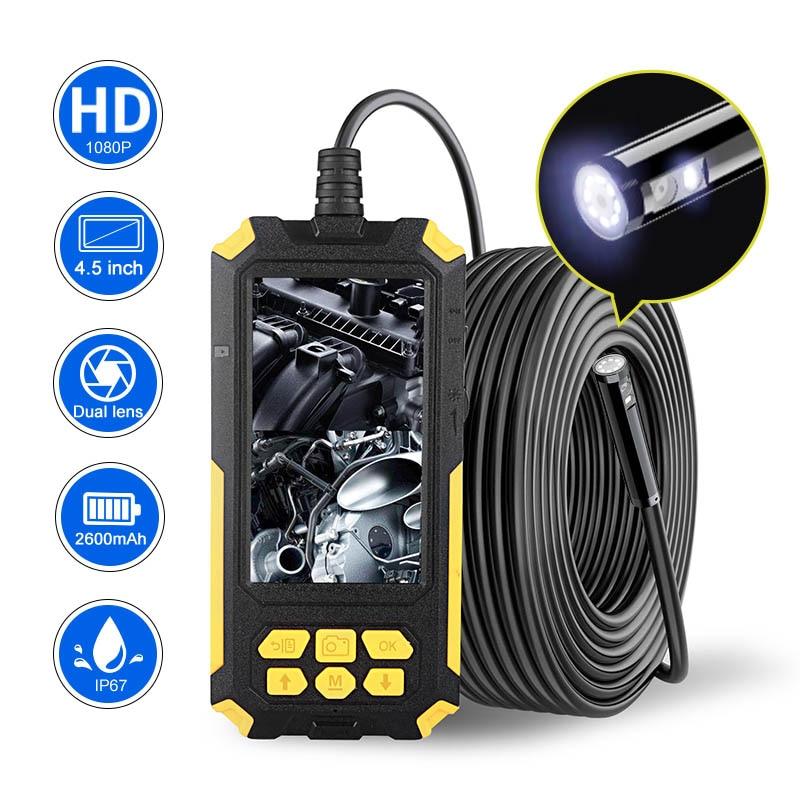 "Review Newest P50 Dual Lens Endoscope Camera 1080P HD 4.5 ""IPS Screen 9 LED Lights IP68 Waterproof Snake Camera Sewer Plumbing Tools"