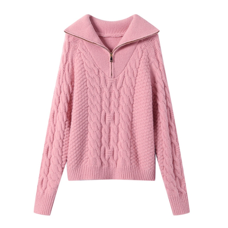 Fashion thick high neck zipper pullover sweater women loose long sleeve women pure color knitted pullover autumn and winter