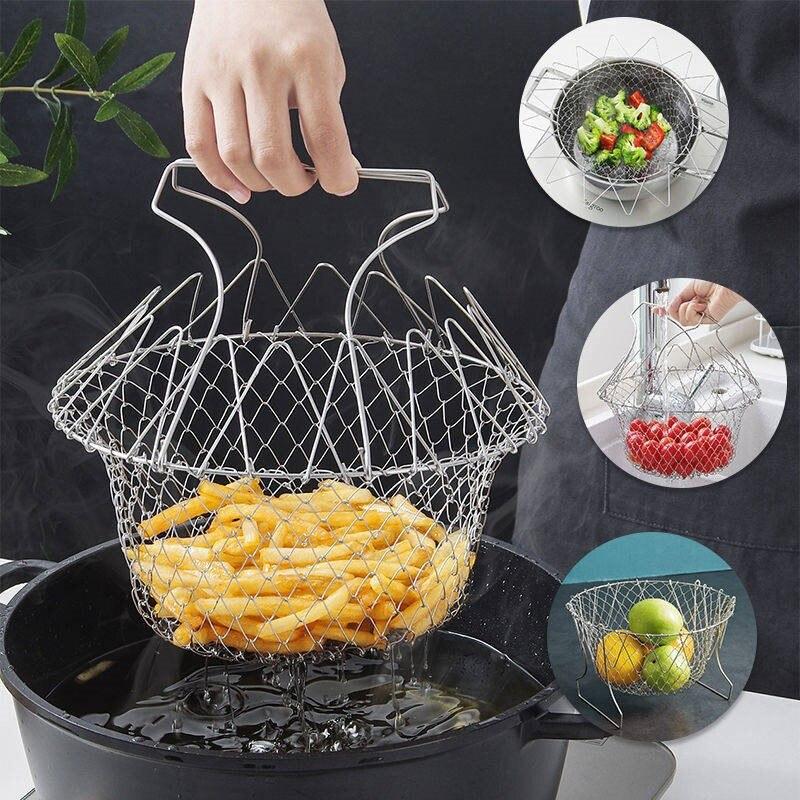 Cesta de malla con rejilla, rejilla plegable para enjuague con vapor, colador para freír aceite de Chef francés, utensilios de cocina, tamiz colador de malla