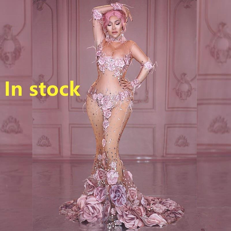 Fashion Design Pink Flowers See Through Long Dress 3D Pattern Mesh Stretch Birthday Party Dress Women Singer Performance Costume