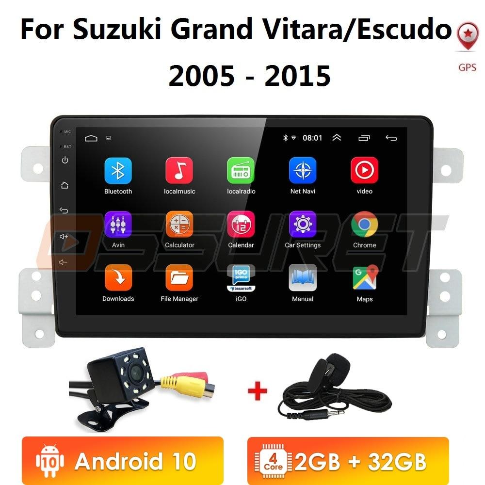 For Suzuki Grand Vitara 3 2005 2012 2013 2014 2015 Car Radio Multimedia Video Player Navigation GPS Android 10 2+32/2+16/1+16 4G