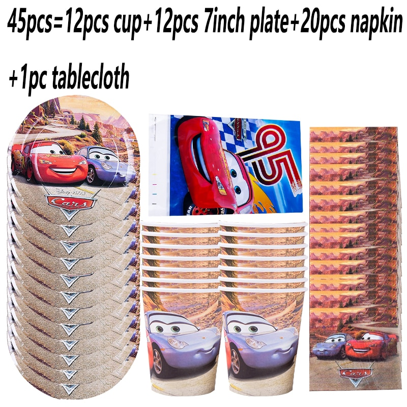 12pcs/set Disney Lightning Mcqueen Car Party Disposable Tableware Set Paper Cup Plate Napkin Birthday Decorations Supplies