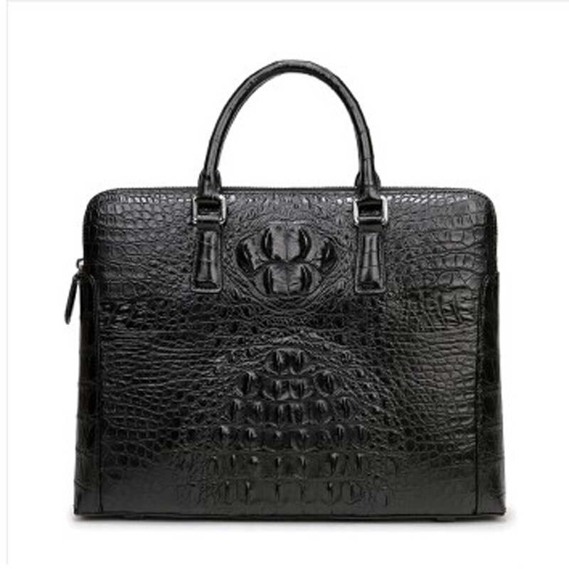 weitasi new arrival Crocodile Leather man bag handbag business men briefcase fashion big bag men tote bags Black
