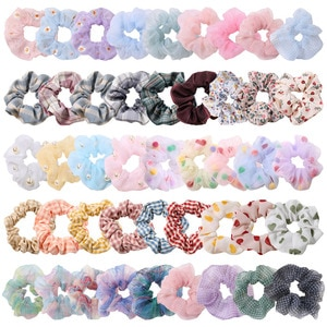 Richkeda Store New 2021 Girls Scrunchies Pack For Women Floral Elastic Hair bands Plaid Gum Hair Tie Daisy Ponytail Hold