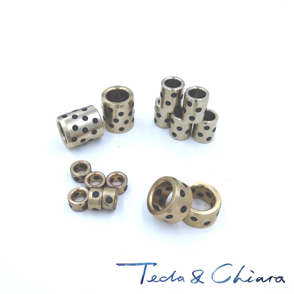 JDB 101410 101412 101415 101420 Graphite Lubricating Brass Bearing Bushing Sleeve Oilless 10 x 14 x 10 12 15 20mm