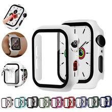 Cristal + funda para Apple Watch serie 6 5 4 3 SE 44mm 40mm iWatch funda 42mm 38mm Protector de pantalla de parachoques + cubierta accesorios para apple watch