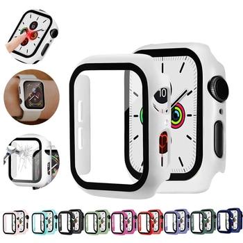 Verre + étui pour Apple Watch serie 6 5 4 3 SE 44mm 40mm iWatch boîtier 42mm 38mm pare choc protection d'écran + housse Apple montre accessoire