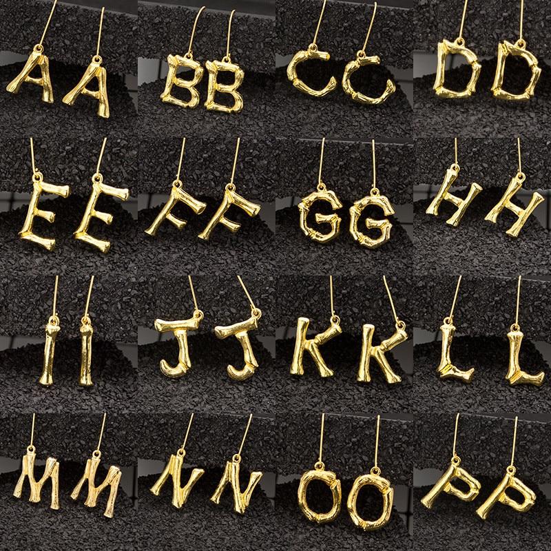 Luokey Gold Women A-Z Letter Earrings 26 English Initial Punk Name Cartilage Dangle Drop Earrings Charm Jewellery 2020 Wholesale