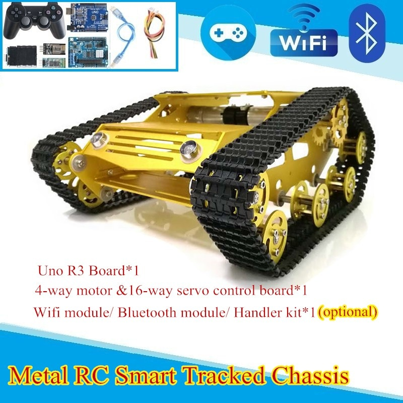 YP100-هيكل سيارة روبوت ، منصة خزان ذكية مع محرك 9 فولت ، إطار معدني وعجلة محمل بلاستيكية ، Arduino / Raspberry Pi DIY