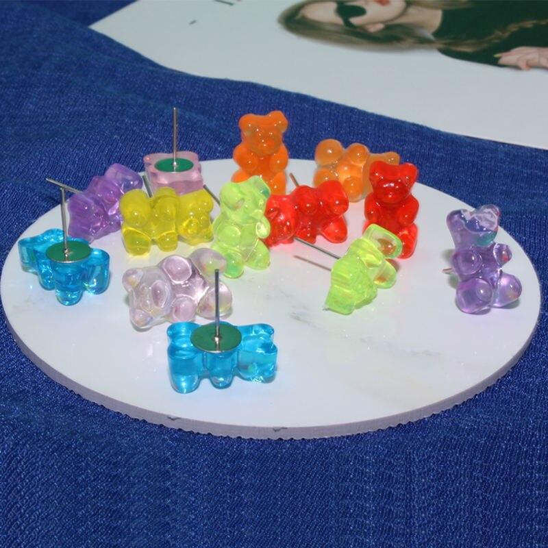 Hermosos pendientes pequeños de oso hechos a mano, coloridos pendientes de oso de dibujos animados, bonitos pendientes de Animal para chica, regalos, joyería divertida