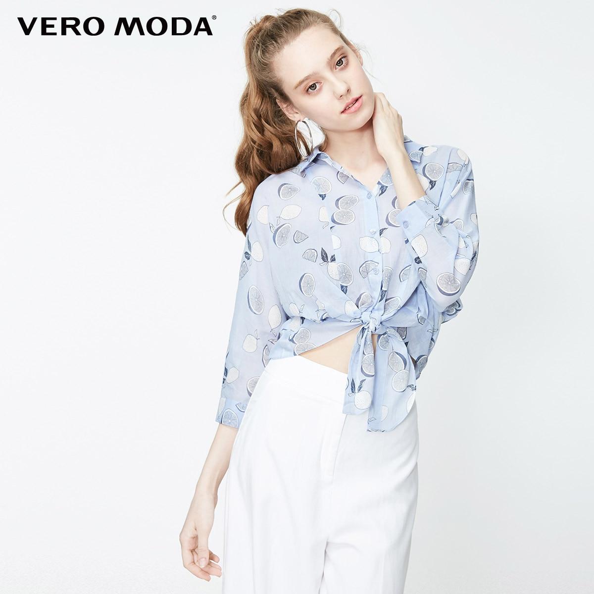 Camiseta corta de manga 3/4 con cuello vuelto con dibujo de fruta de algodón de 100% para mujer de Vero Moda   319231524