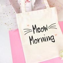 Miaou matin Kawaii chaton lettre impression épaule toile sacs mignon collège vent sac à provisions Harajuku sac à main femmes sac portefeuille