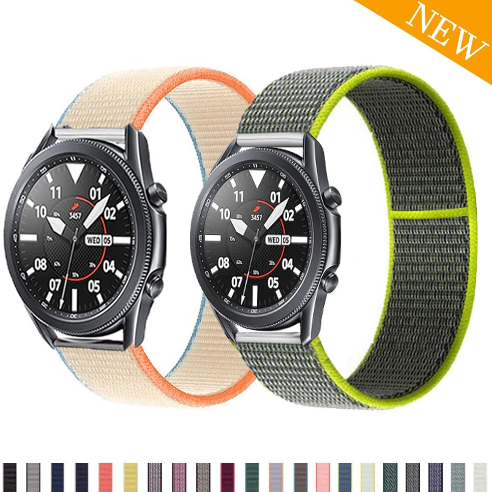 Nylon Sport Loop For Samsung Galaxy Watch 3/45mm 41mm active 2 strap Gear S3 20mm 22mm watch Bracelet huawei watch gt gt2 Strap