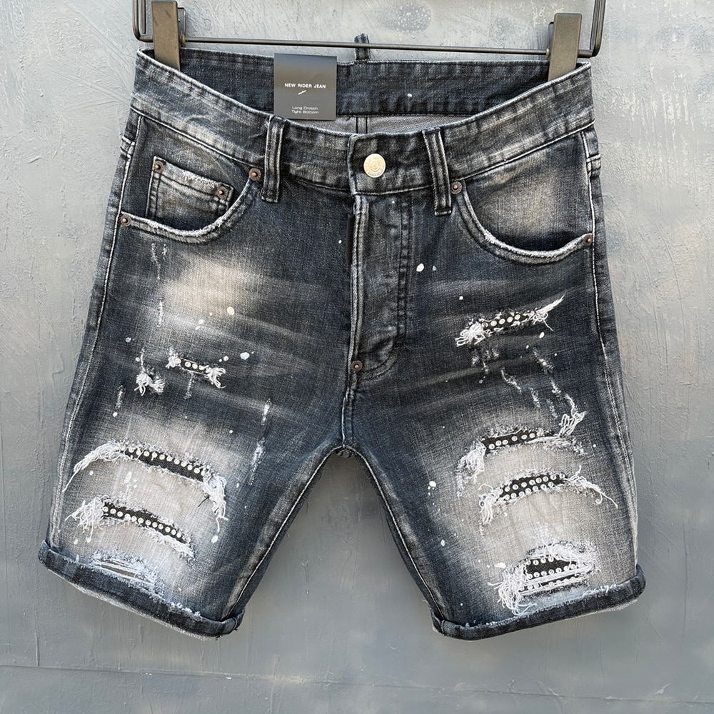 summer Style   Italy jeans men Shorts jeans Men denim trousers straight paint Slim blue hole Shorts jeans for me