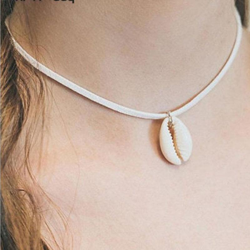 Einfache Vintage Samt Leder Natürliche Sea Shell Anhänger Choker Halsketten Frauen Böhmischen Strand Chocker Schmuck Halskette YN1020