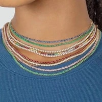 fashion women 1 row rhinestone color crystal necklace all kinds of color ice tennis necklace shining lady necklace jewelry whole