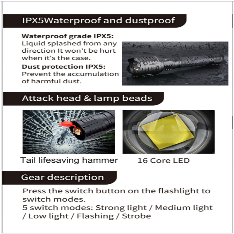 10000MAH XHP160 16-core Most Powerful Flashlight Light Brightest XHP90 Lantern  Self-defense Hand Torch Tactical Hunting Torch enlarge