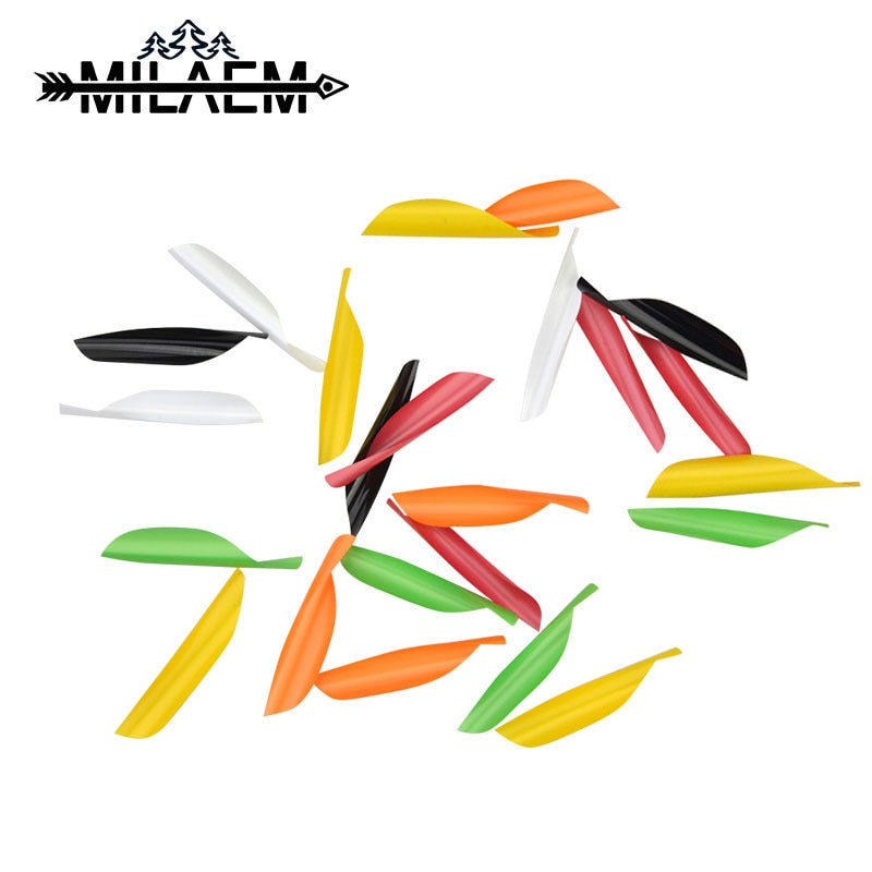 50pcs Archery Spiral Feather DIY Spin Vans 1.75