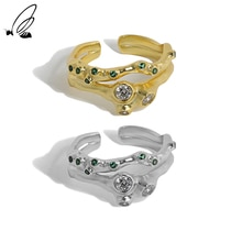 S'STEEL Sterling Silver 925 Irregular Design Zirconite Texture Opening Ring For Women Handmade Boho