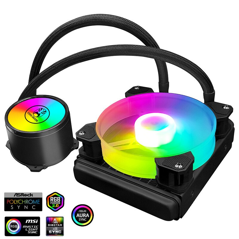 مروحة تبريد مياه CPU من COOLMOON مشعاع سائل RGB ARGB متوافقة مع Intel LGA 1150 1151 1155 1200 1366 2011 AM3 AM4 Ventilador
