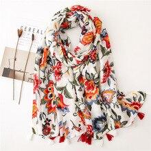Châle Floral en coton pour femmes   Longue écharpe, châle Floral, Protection solaire mince, Style coréen, foulard dété