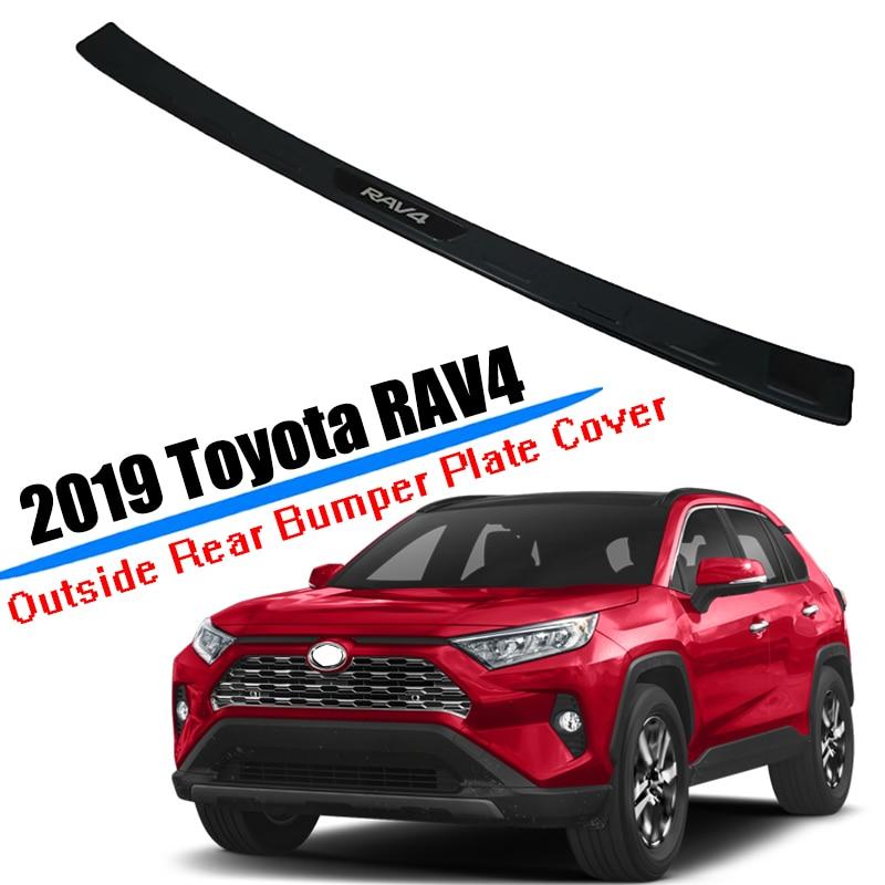 Alta qualidade preto titanium amortecedor traseiro do carro protetor sill guard guarnição capa placa adesivo para toyota rav4 2019 2020