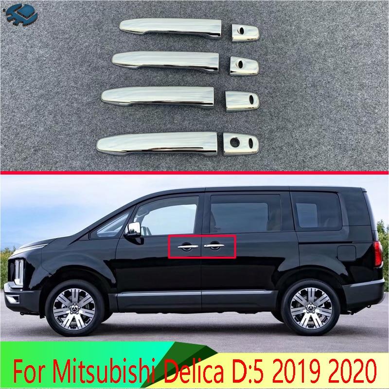 Für Mitsubishi Delica D 5 2019 2020 auto Zubehör ABS Chrom Türgriff Abdeckung Mit Smart Schlüssel Loch Fangen Cap Trim Molding
