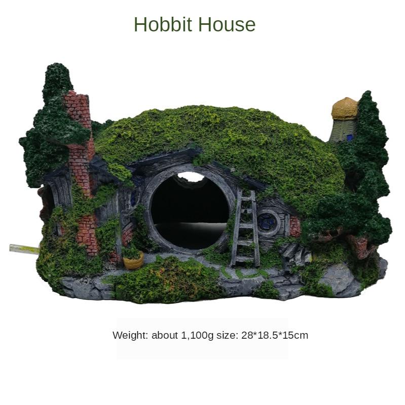 Accesorios para tanque de peces paisajismo Castillo pescado albergue de langostinos casa Hobbit casa árbol casa acuario Decoración