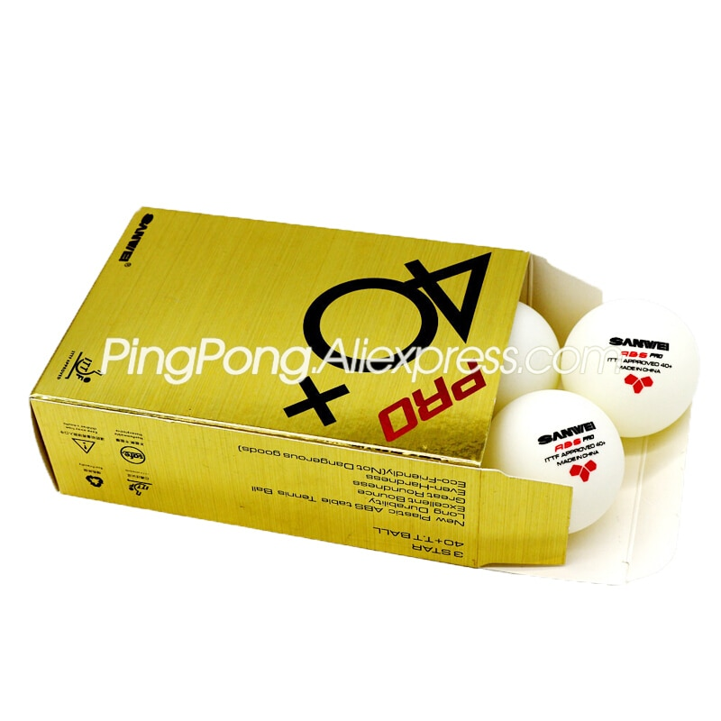 12 bolas sanwei 3 estrelas bola de tênis de mesa sanwei abs pro 3-star bolas de ping pong ittf aprovado novo material plástico poli bola