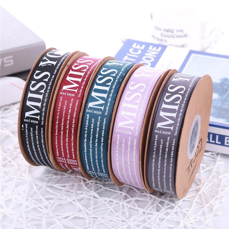 50yars/Roll MISS YOU cinta impresa para envolver tarjetas de regalo cintas de Navidad decoración de fiesta de cumpleaños de boda DIY materiales de lazo