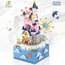 91001 Birthday gifts Rotating music box with lights diamond building blocks toys for kids